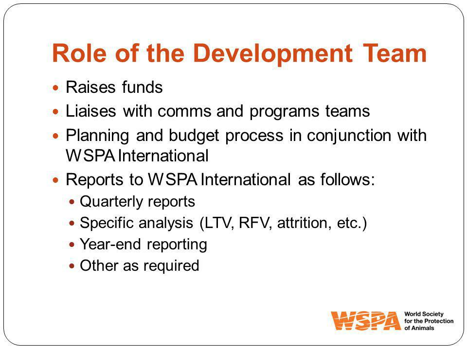 Role of the Development Team Raises funds Liaises with comms and programs teams Planning and budget process in conjunction with WSPA International Reports to WSPA International as follows: Quarterly reports Specific analysis (LTV, RFV, attrition, etc.) Year-end reporting Other as required