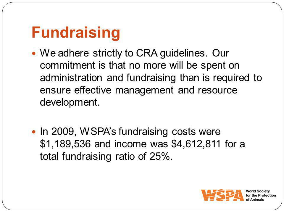 Fundraising We adhere strictly to CRA guidelines.