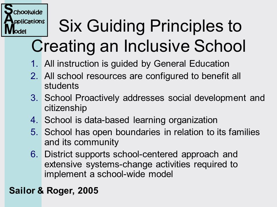 Six Guiding Principles to Creating an Inclusive School 1.All instruction is guided by General Education 2.All school resources are configured to benefit all students 3.School Proactively addresses social development and citizenship 4.School is data-based learning organization 5.School has open boundaries in relation to its families and its community 6.District supports school-centered approach and extensive systems-change activities required to implement a school-wide model Sailor & Roger, 2005