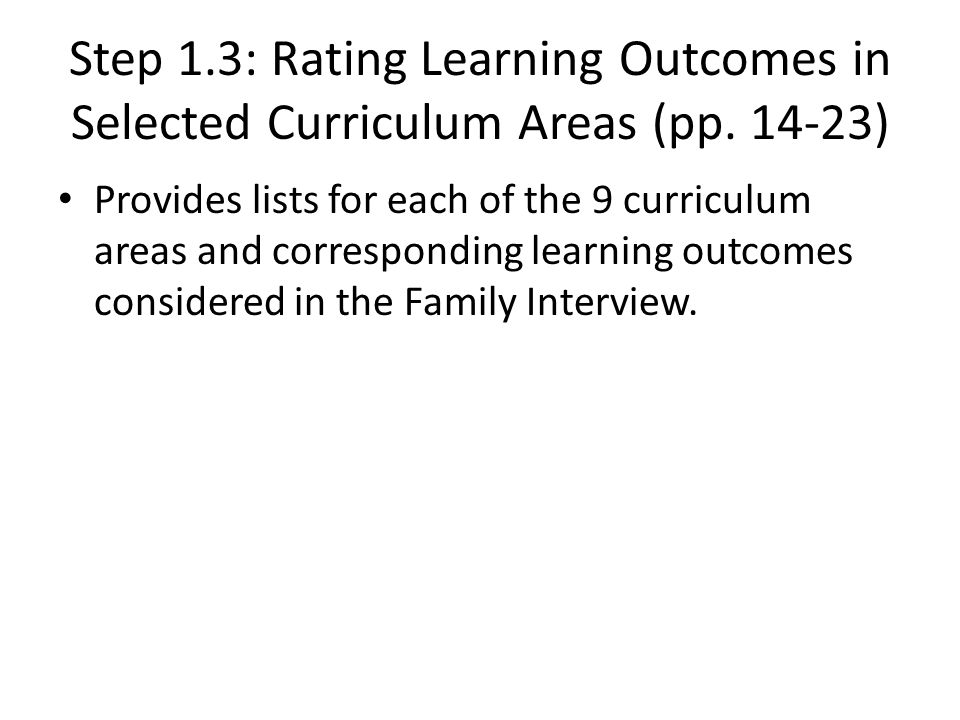 Step 1.3: Rating Learning Outcomes in Selected Curriculum Areas (pp.