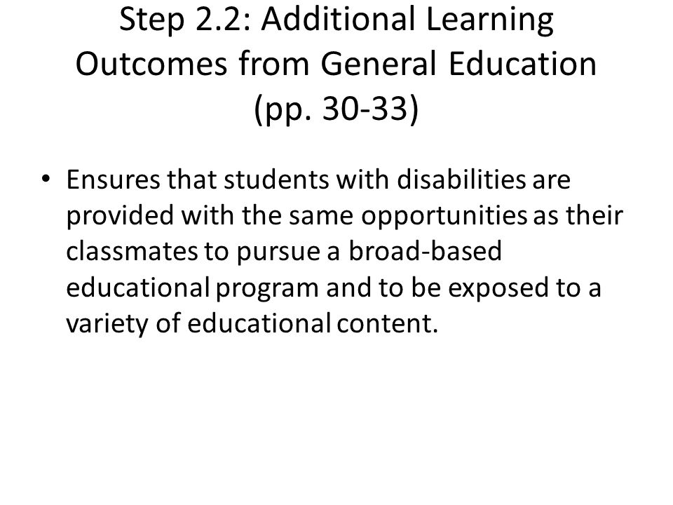 Step 2.2: Additional Learning Outcomes from General Education (pp.