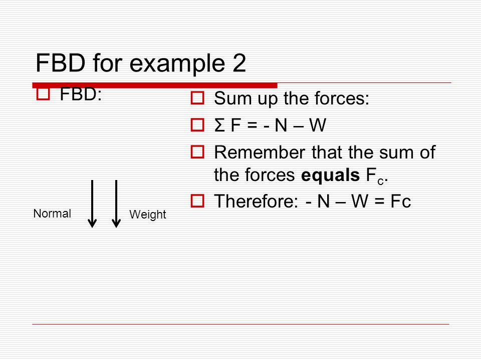 FBD for example 2  FBD:  Sum up the forces:  Σ F = - N – W  Remember that the sum of the forces equals F c.