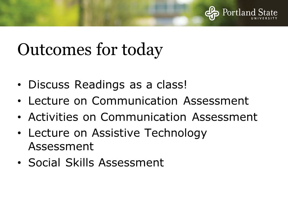 Outcomes for today Discuss Readings as a class.