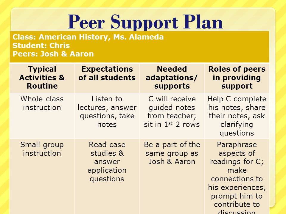 Peer Support Plan Class: American History, Ms.