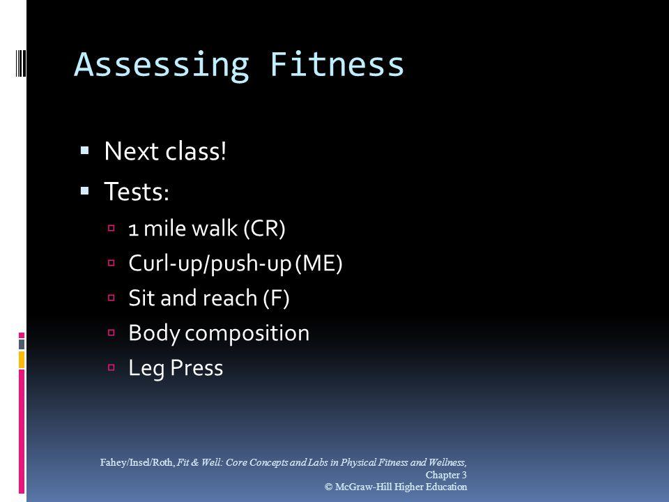 Assessing Fitness  Next class.