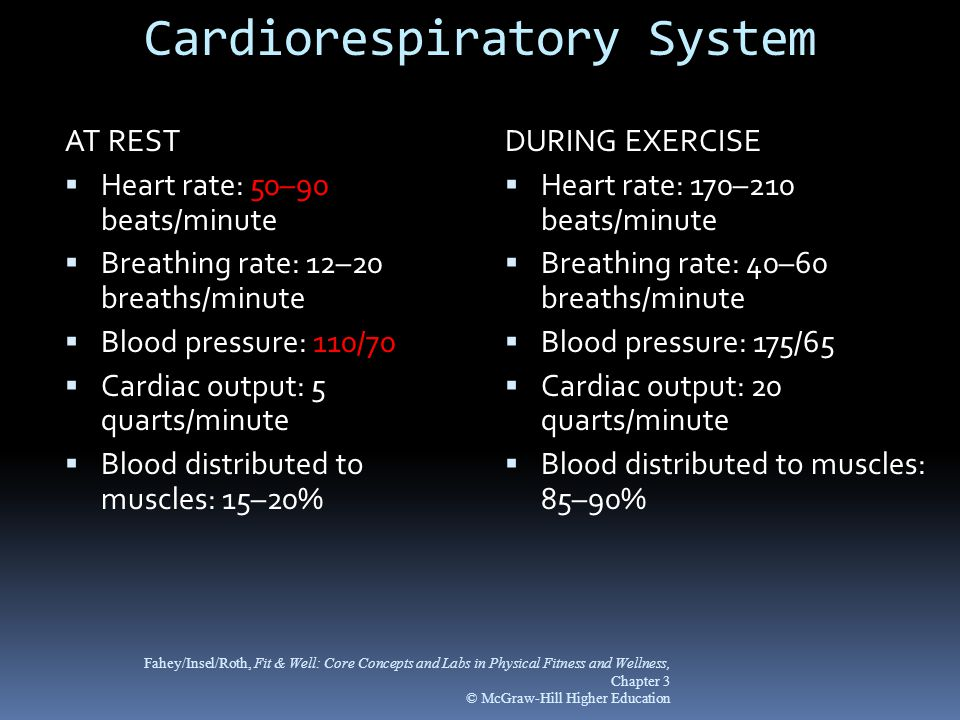 Cardiorespiratory System AT REST  Heart rate: 50–90 beats/minute  Breathing rate: 12–20 breaths/minute  Blood pressure: 110/70  Cardiac output: 5 quarts/minute  Blood distributed to muscles: 15–20% DURING EXERCISE  Heart rate: 170–210 beats/minute  Breathing rate: 40–60 breaths/minute  Blood pressure: 175/65  Cardiac output: 20 quarts/minute  Blood distributed to muscles: 85–90% Fahey/Insel/Roth, Fit & Well: Core Concepts and Labs in Physical Fitness and Wellness, Chapter 3 © McGraw-Hill Higher Education