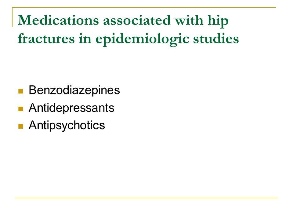 Medications associated with hip fractures in epidemiologic studies Benzodiazepines Antidepressants Antipsychotics