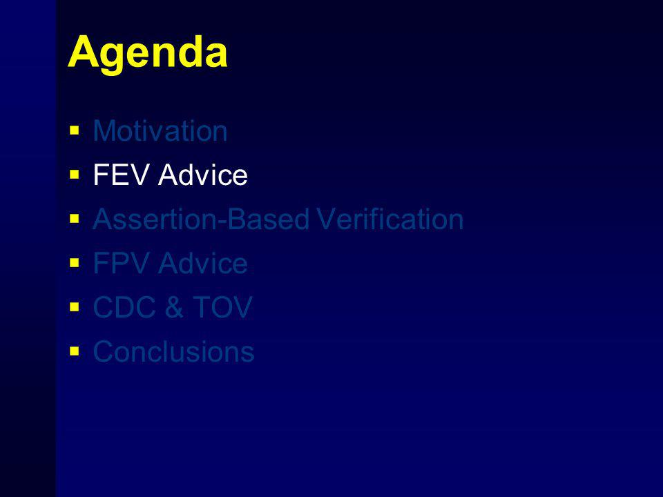 Agenda  Motivation  FEV Advice  Assertion-Based Verification  FPV Advice  CDC & TOV  Conclusions