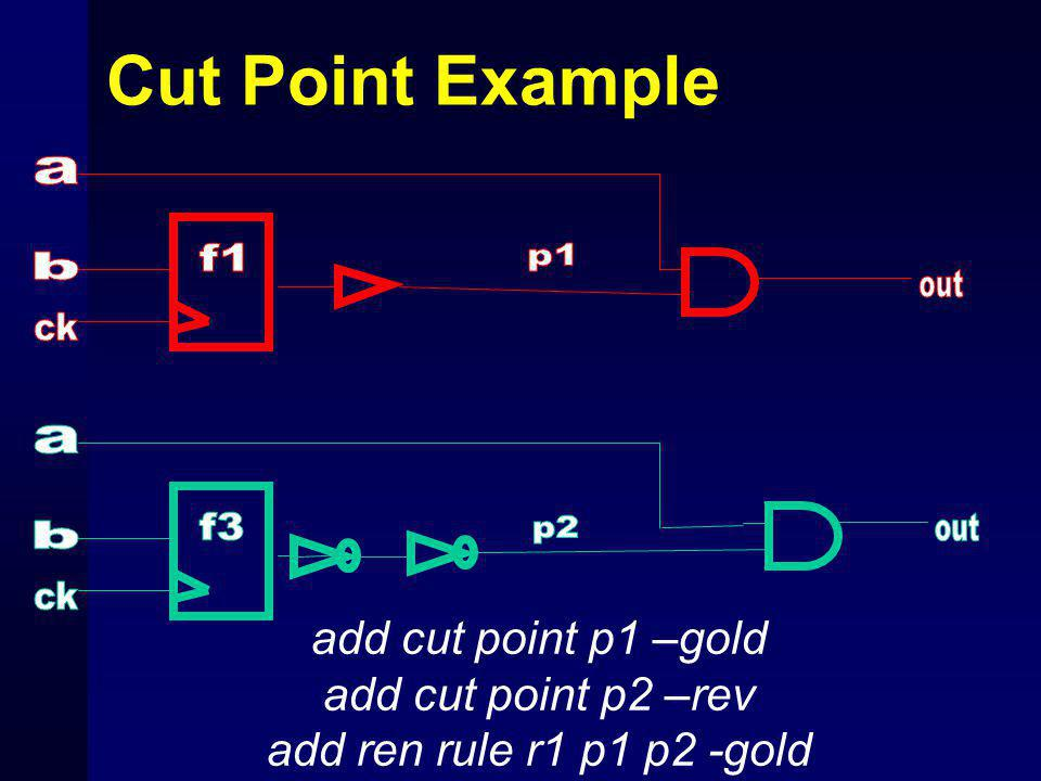Cut Point Example add cut point p1 –gold add cut point p2 –rev add ren rule r1 p1 p2 -gold