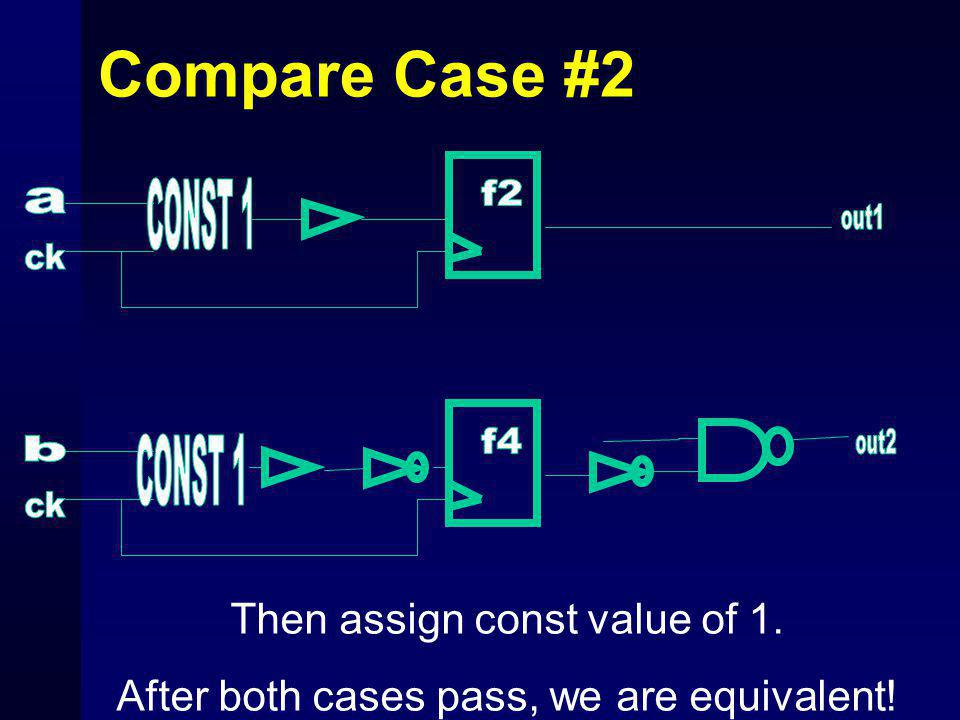 Compare Case #2 Then assign const value of 1. After both cases pass, we are equivalent!