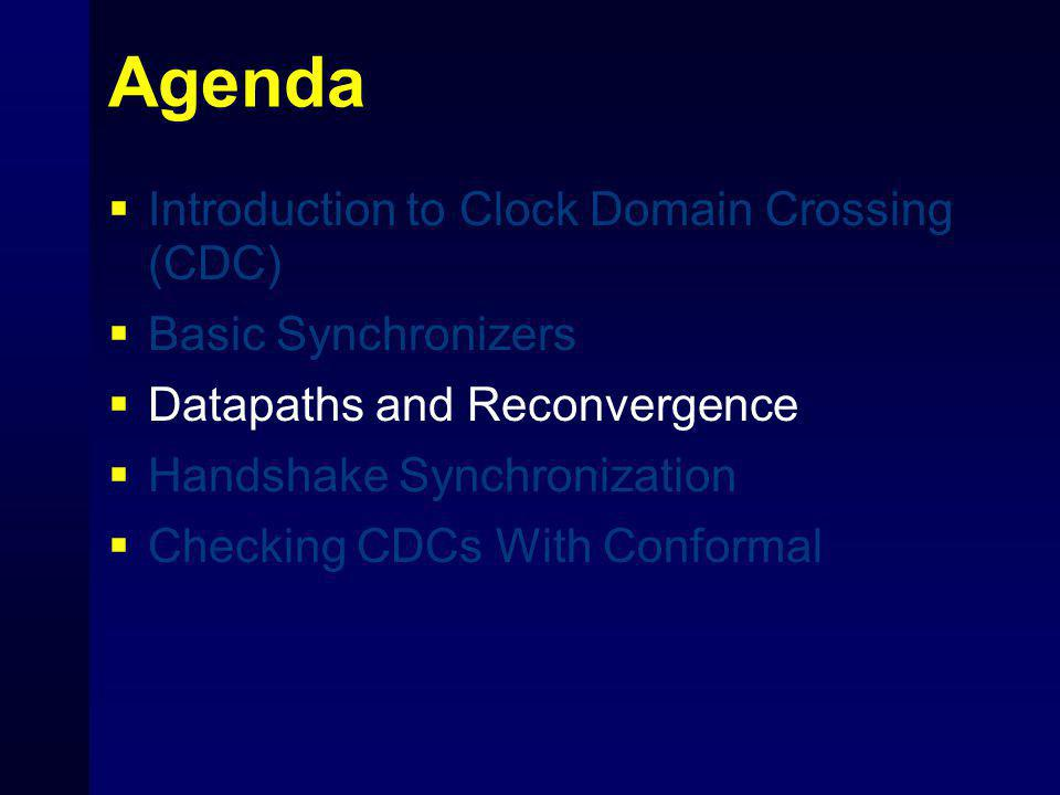 Agenda  Introduction to Clock Domain Crossing (CDC)  Basic Synchronizers  Datapaths and Reconvergence  Handshake Synchronization  Checking CDCs W