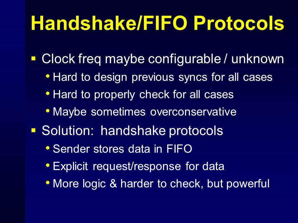 Handshake/FIFO Protocols  Clock freq maybe configurable / unknown Hard to design previous syncs for all cases Hard to properly check for all cases Ma