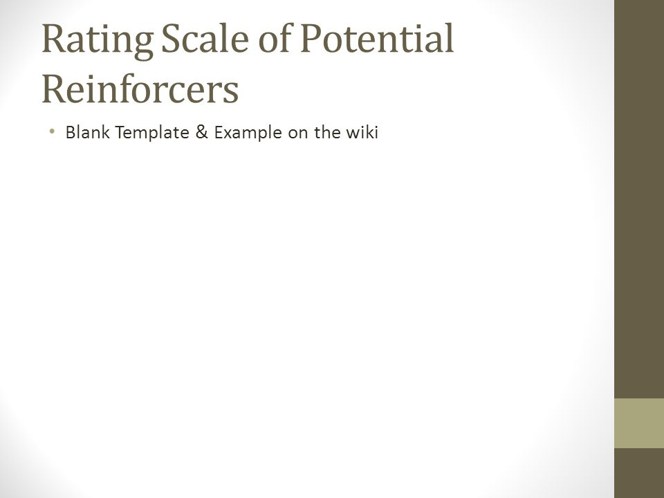 Rating Scale of Potential Reinforcers Blank Template & Example on the wiki