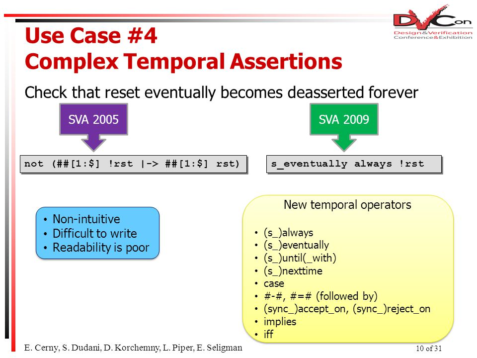 Use Case #4 Complex Temporal Assertions Check that reset eventually becomes deasserted forever E.