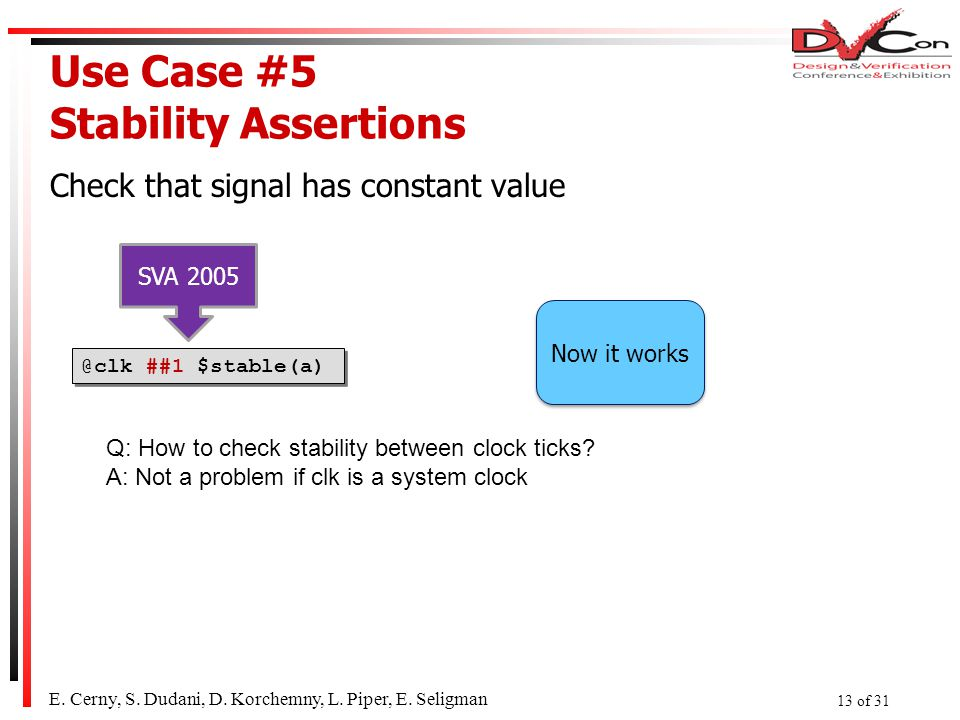 Use Case #5 Stability Assertions Check that signal has constant value E.