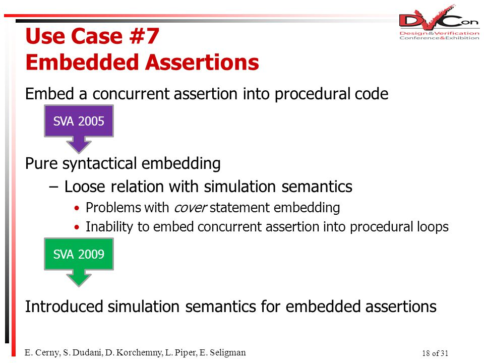 Use Case #7 Embedded Assertions Embed a concurrent assertion into procedural code Pure syntactical embedding –Loose relation with simulation semantics Problems with cover statement embedding Inability to embed concurrent assertion into procedural loops Introduced simulation semantics for embedded assertions SVA 2005 SVA 2009 E.
