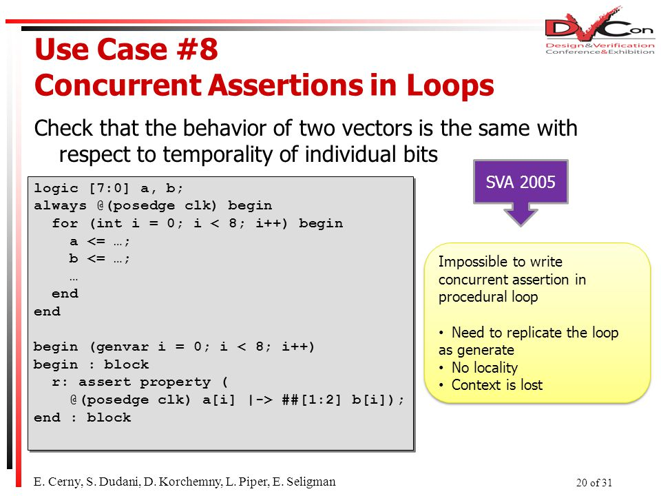 Use Case #8 Concurrent Assertions in Loops Check that the behavior of two vectors is the same with respect to temporality of individual bits logic [7:0] a, b; always @(posedge clk) begin for (int i = 0; i < 8; i++) begin a <= …; b <= …; … end begin (genvar i = 0; i < 8; i++) begin : block r: assert property ( @(posedge clk) a[i] |-> ##[1:2] b[i]); end : block logic [7:0] a, b; always @(posedge clk) begin for (int i = 0; i < 8; i++) begin a <= …; b <= …; … end begin (genvar i = 0; i < 8; i++) begin : block r: assert property ( @(posedge clk) a[i] |-> ##[1:2] b[i]); end : block E.