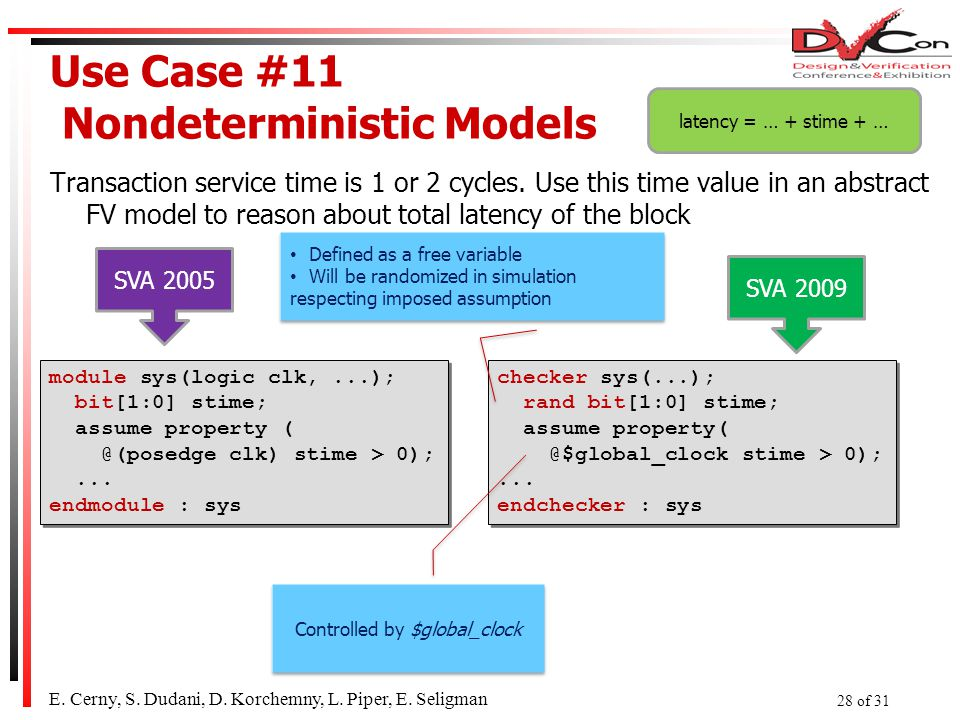 Use Case #11 Nondeterministic Models Transaction service time is 1 or 2 cycles.
