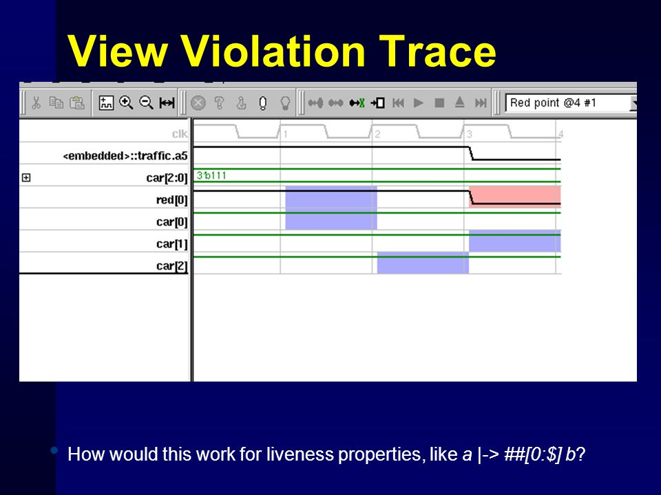 View Violation Trace How would this work for liveness properties, like a |-> ##[0:$] b?