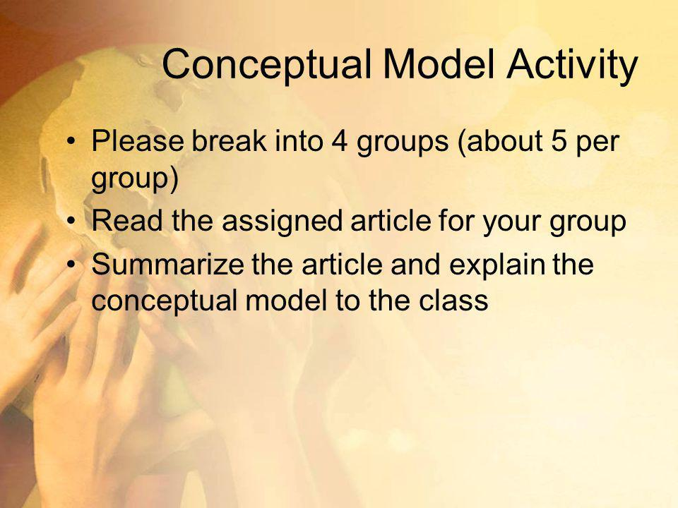 Conceptual Model Activity Please break into 4 groups (about 5 per group) Read the assigned article for your group Summarize the article and explain the conceptual model to the class