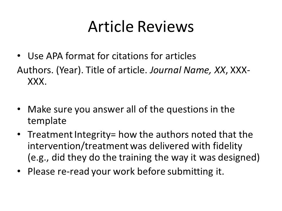 how to write an article review apa