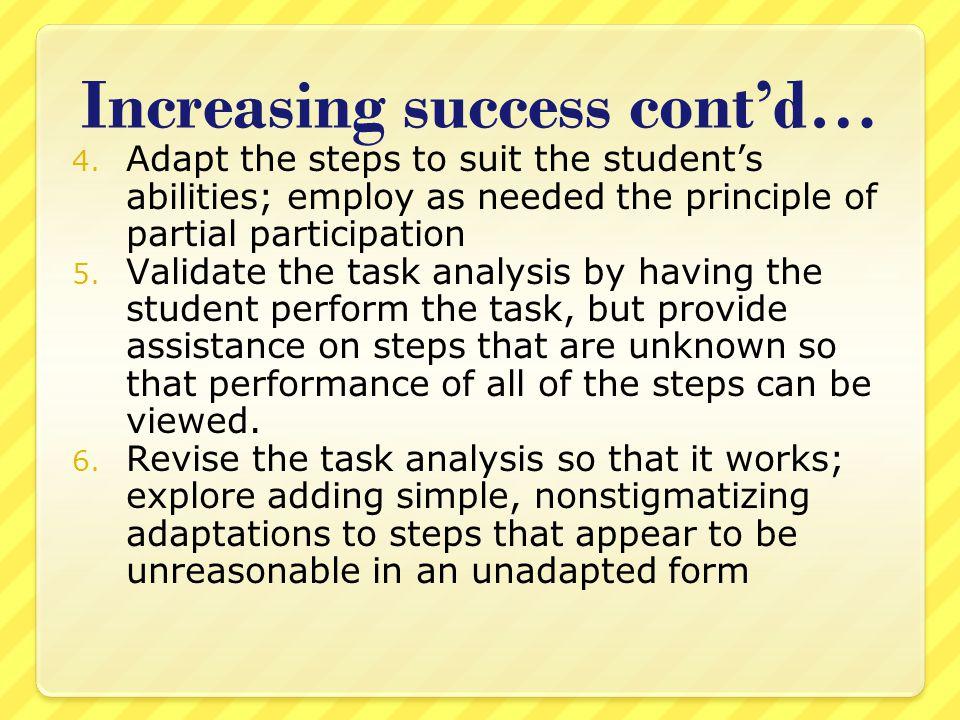 Increasing success cont'd… 4.