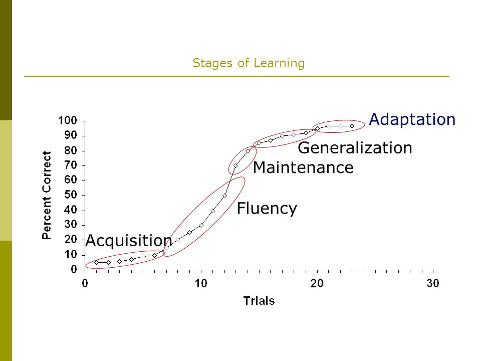 Stages of Learning Acquisition Fluency Maintenance Generalization Adaptation