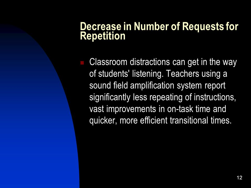 12 Decrease in Number of Requests for Repetition Classroom distractions can get in the way of students listening.