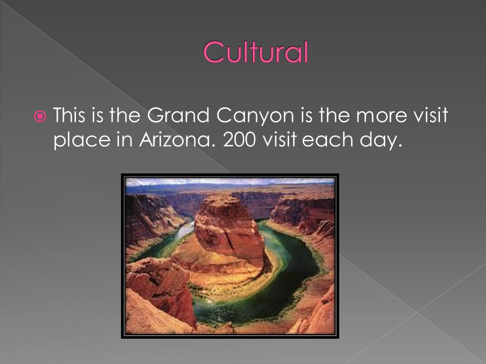  This is the Grand Canyon is the more visit place in Arizona. 200 visit each day.