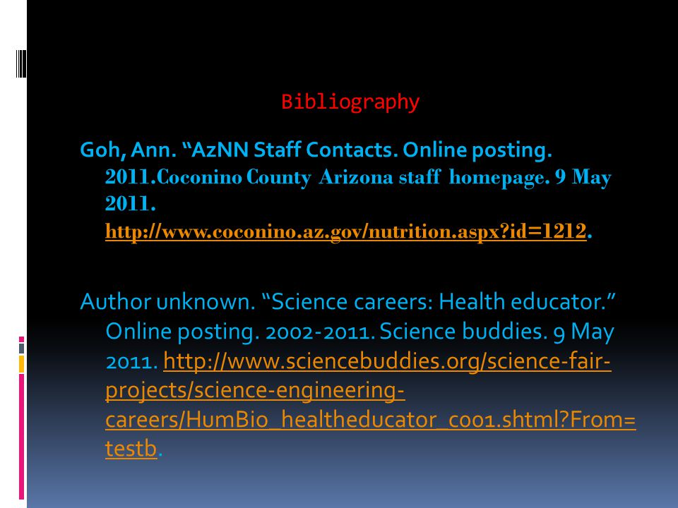 Bibliography Goh, Ann. AzNN Staff Contacts. Online posting.