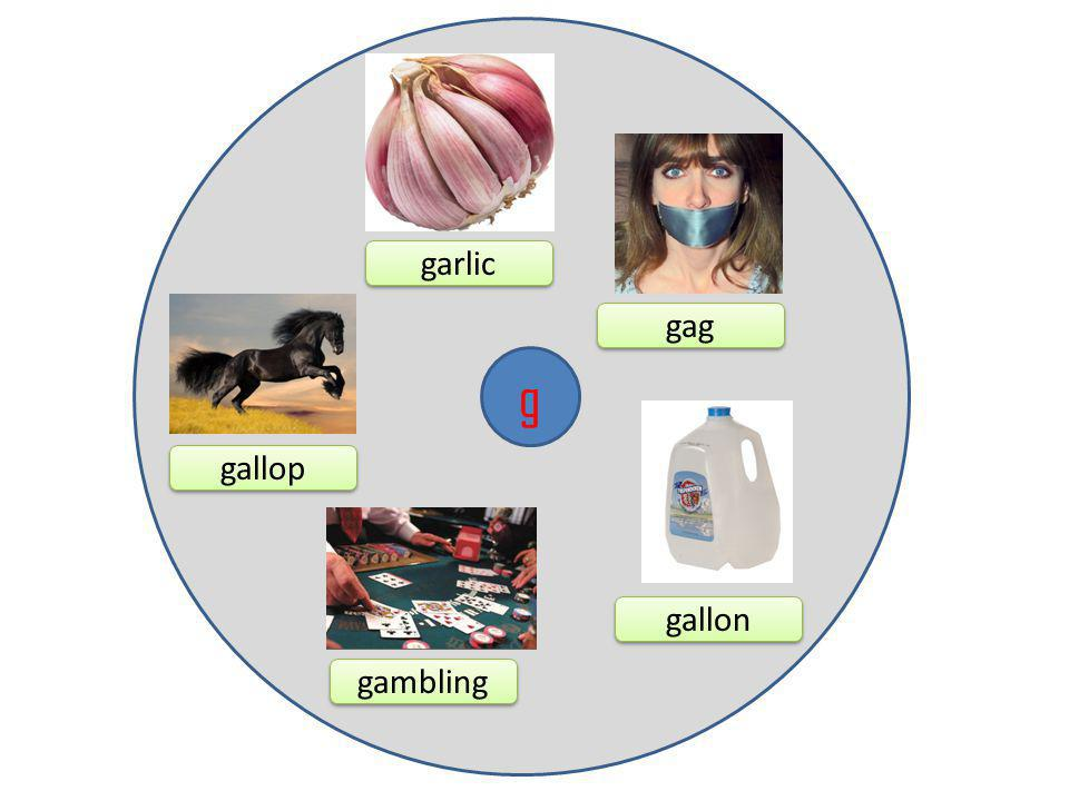 g garlic gag gambling gallon gallop