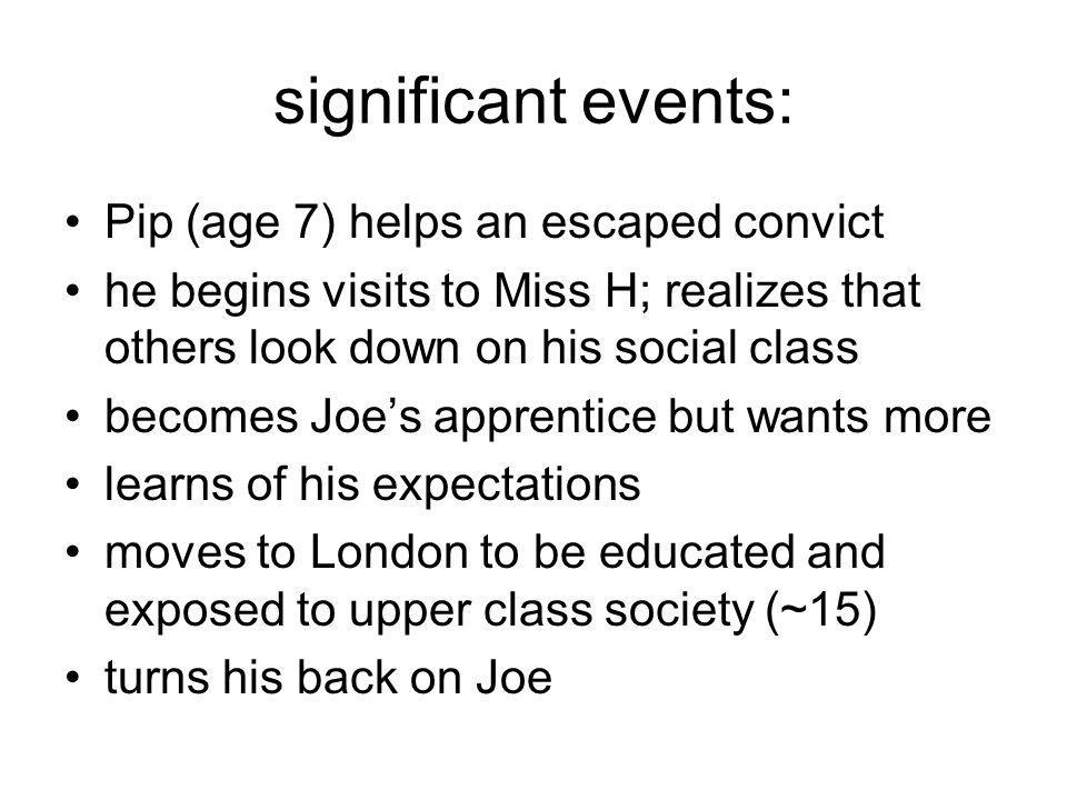 significant events: Pip (age 7) helps an escaped convict he begins visits to Miss H; realizes that others look down on his social class becomes Joe's