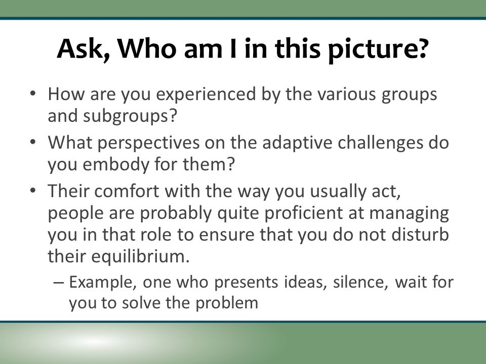 Ask, Who am I in this picture. How are you experienced by the various groups and subgroups.