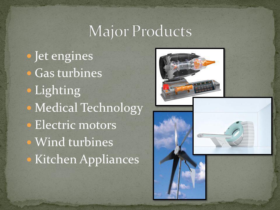 Jet engines Gas turbines Lighting Medical Technology Electric motors Wind turbines Kitchen Appliances