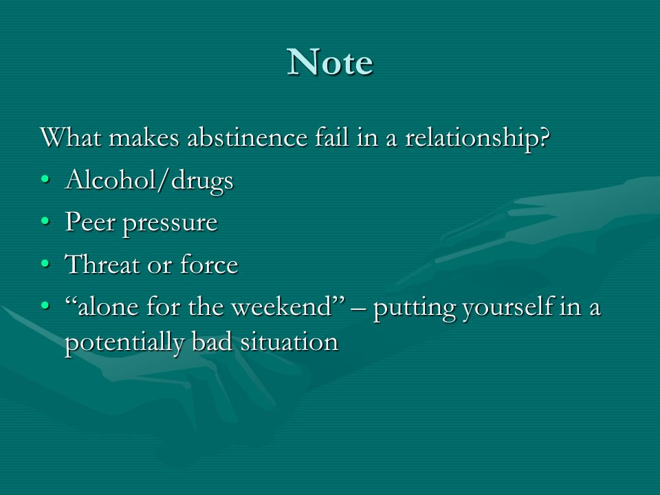 Note What makes abstinence fail in a relationship.