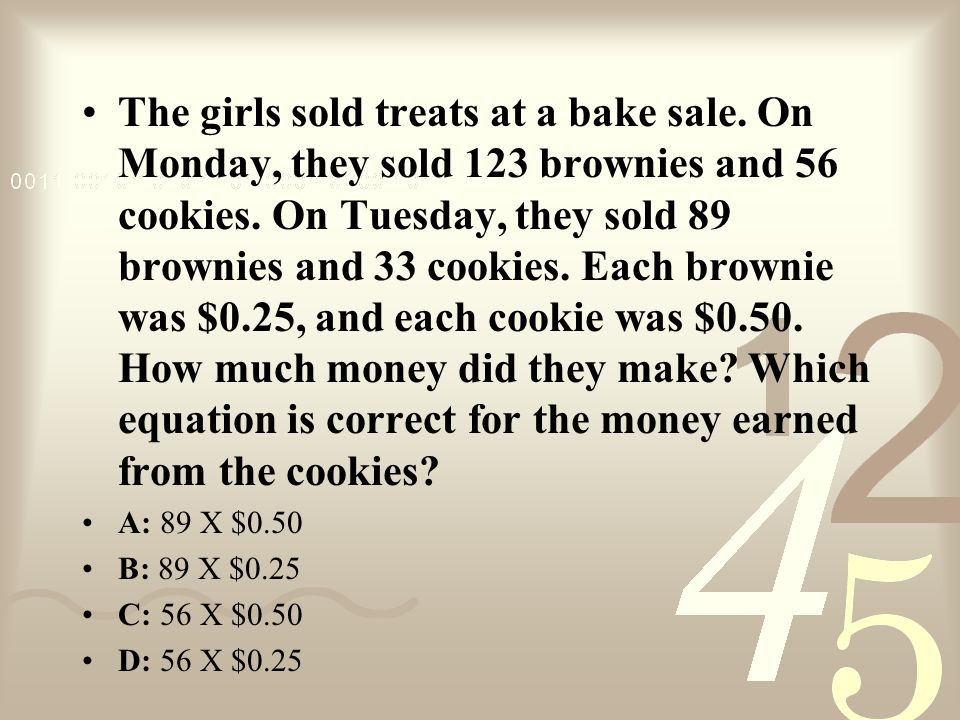 The girls sold treats at a bake sale.On Monday, they sold 123 brownies and 56 cookies.