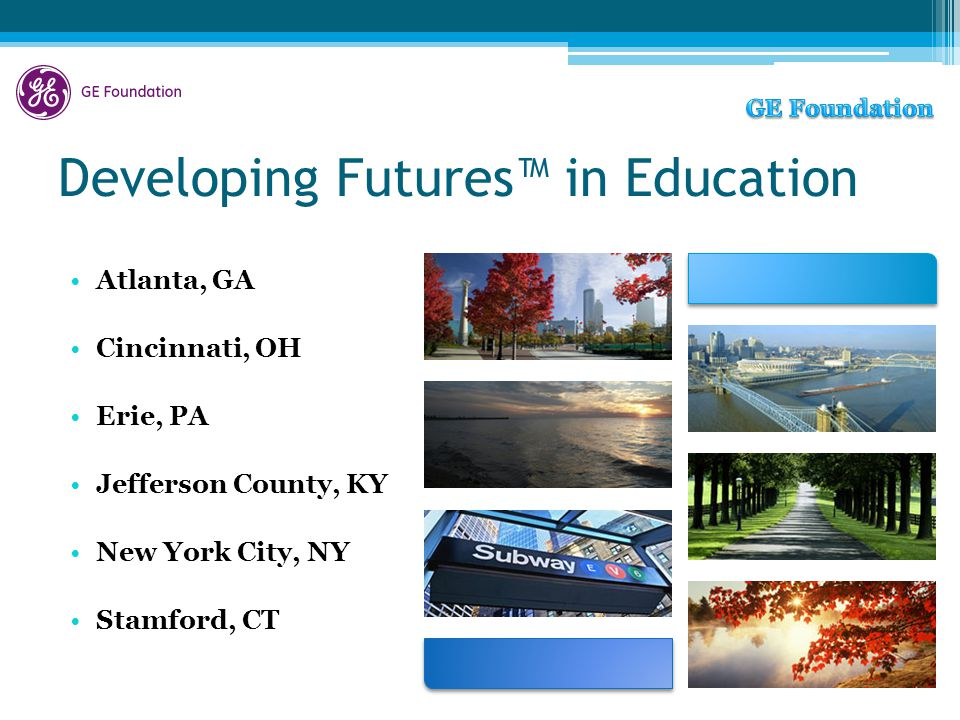 Developing Futures™ in Education Atlanta, GA Cincinnati, OH Erie, PA Jefferson County, KY New York City, NY Stamford, CT
