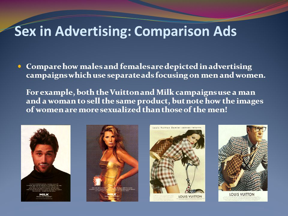 Sex in Advertising: Comparison Ads Compare how males and females are depicted in advertising campaigns which use separate ads focusing on men and women.