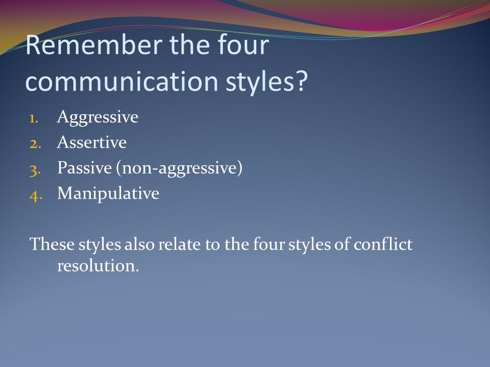 Remember the four communication styles.1. Aggressive 2.