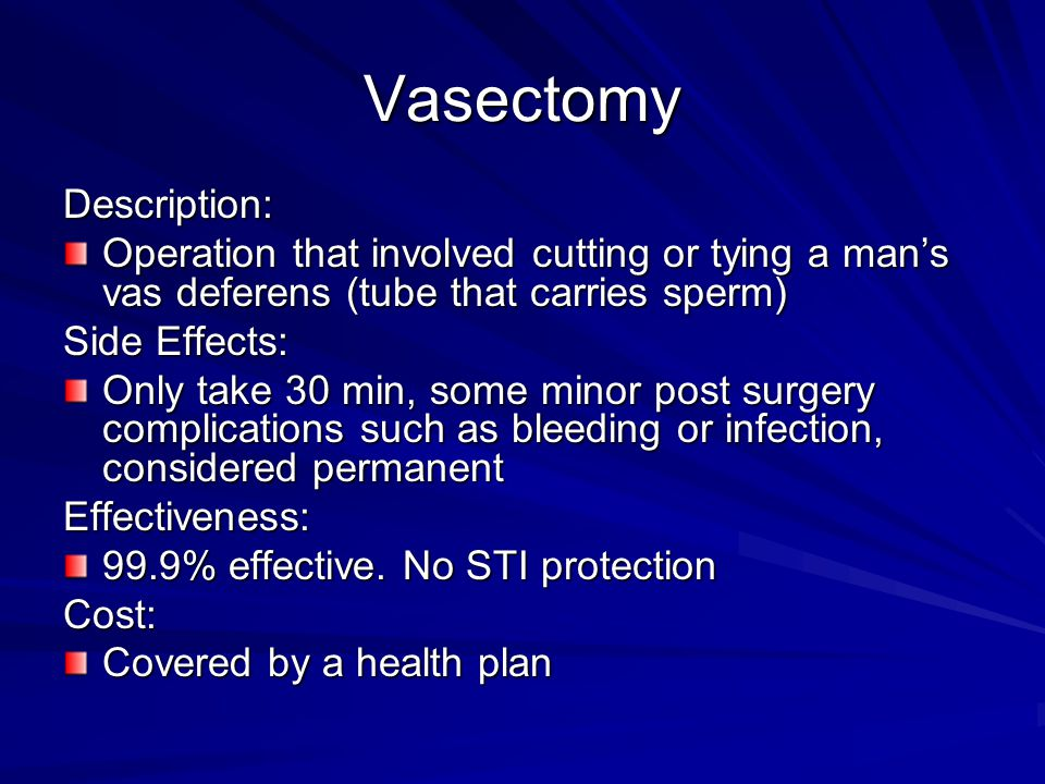 Vasectomy Description: Operation that involved cutting or tying a man's vas deferens (tube that carries sperm) Side Effects: Only take 30 min, some mi