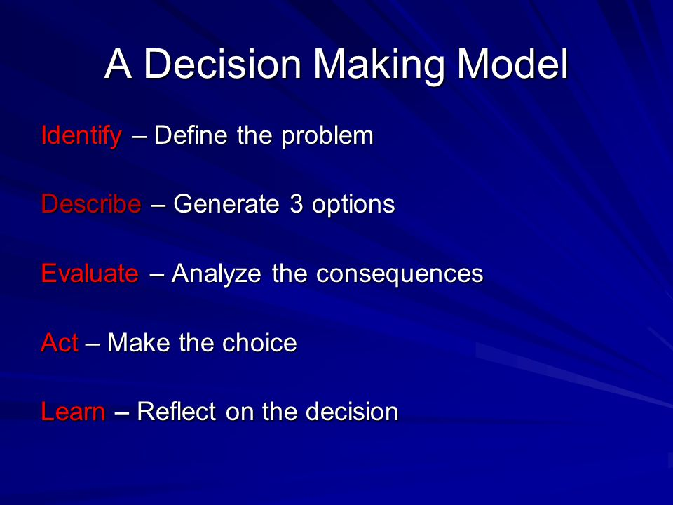 A Decision Making Model Identify – Define the problem Describe – Generate 3 options Evaluate – Analyze the consequences Act – Make the choice Learn – Reflect on the decision