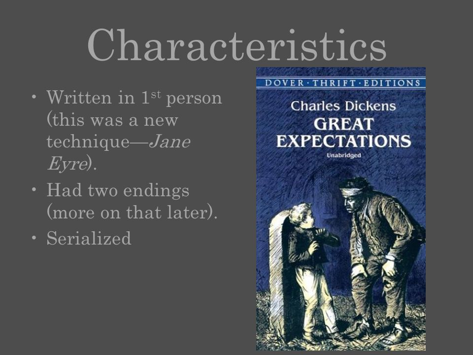 Characteristics Written in 1 st person (this was a new technique—Jane Eyre).