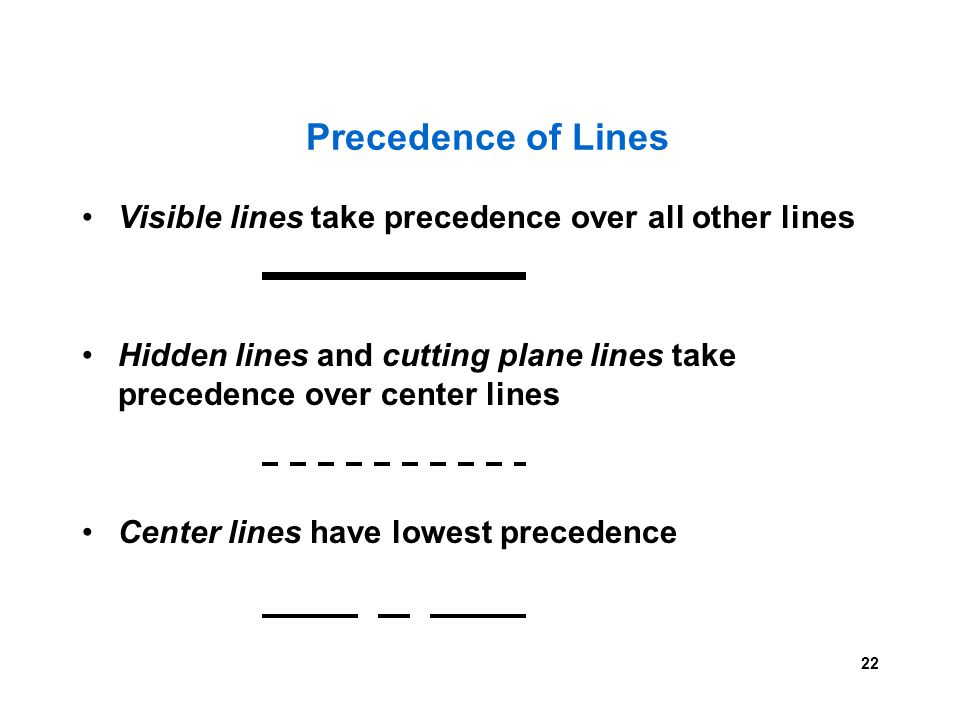 22 Visible lines take precedence over all other lines Hidden lines and cutting plane lines take precedence over center lines Center lines have lowest