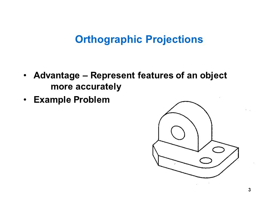 3 Orthographic Projections Advantage – Represent features of an object more accurately Example Problem