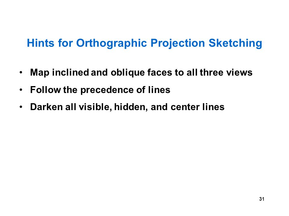 31 Hints for Orthographic Projection Sketching Map inclined and oblique faces to all three views Follow the precedence of lines Darken all visible, hi