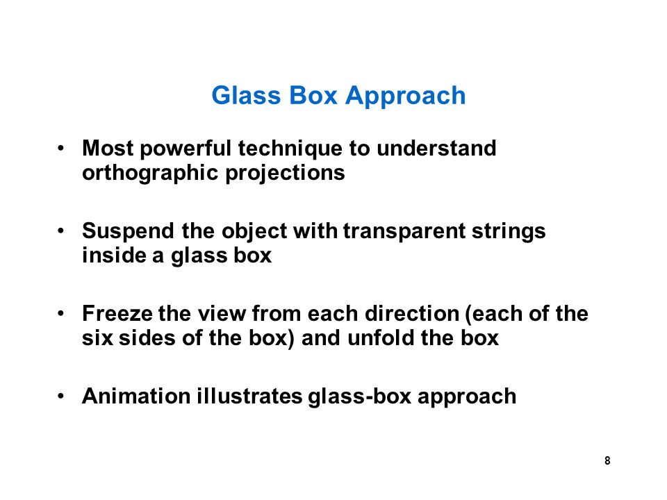 8 Glass Box Approach Most powerful technique to understand orthographic projections Suspend the object with transparent strings inside a glass box Fre