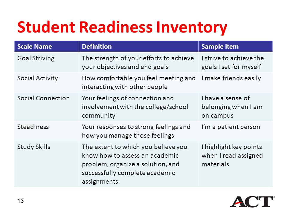 Student Readiness Inventory Scale NameDefinitionSample Item Goal StrivingThe strength of your efforts to achieve your objectives and end goals I striv