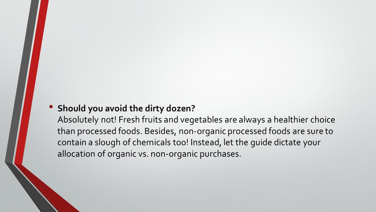 Should you avoid the dirty dozen. Absolutely not.