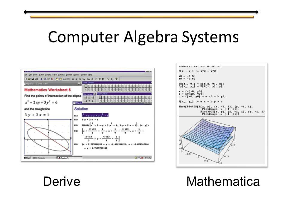 Computer Algebra Systems Derive Mathematica