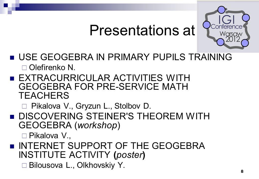 9 Chernihiv Regional Institute of Postgraduate Education GeoGebra Institute of Chernihiv, Ukraine established on 3 February 2011 Chair: Valeriy Rakuta  Workshops for in-service mathematics teachers  Seminars for in-service math teachers of Chernihiv region, Ukraine  Certification